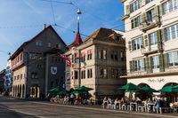 Houses and churches in the old town part of Zurich