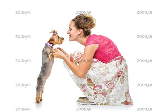 Girl with yorkie dog