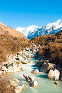 Langtang Gangchenpo Mountain Peak River Landscape