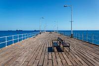 Wooden pier on the Mediterranean Sea, Limassol, Cyprus