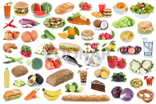 Essen Collage gesunde Ernährung Obst und Gemüse Früchte Hintergrund Lebensmittel Freisteller