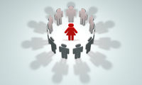 The woman - the head (symbolic figures of people). 3D illustration rendering