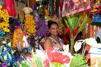 Blumenverkäuferin auf dem