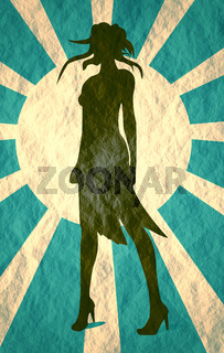 Sexy woman silhouette in short dress