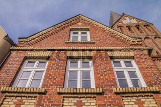 Backsteinfassaden in Barth, Mecklenburg-Vorpommern, Deutschland