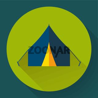 Tourist tent. Single icon. Vector illustration