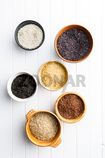 Different rice varieties.
