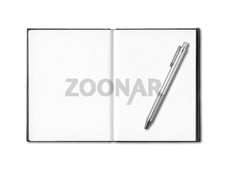 Blank open notebook and pen isolated on white