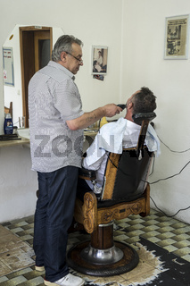 Friseurladen in Sanski Most, Bosnien