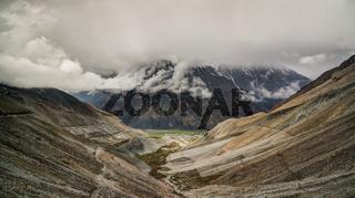 Panorama of Mastuj river and valley near Shandur pass, Pakistan