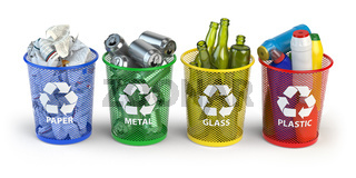 Colored trash bins for recycle paper, plastic, glass and metal isolated on white background.