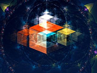 Magic cubes - abstract digitally generated image