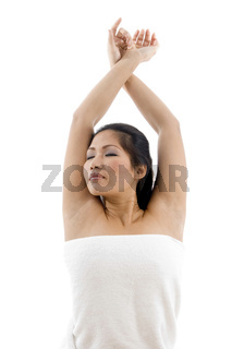 young female posing in towel