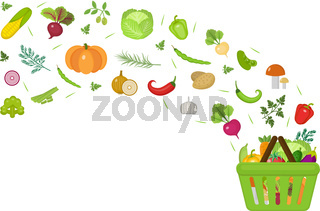Shopping basket with fresh vegetables. Flat design. Banner space for text, isolated on white background. Healthy lifestyle, vegan or vegetarian diet, raw foods. Vector illustration