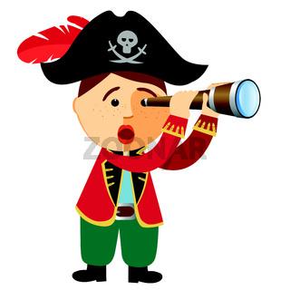 pirate boy looking through a spyglass telescope. Vector.