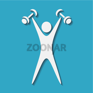 White exercising figure with dumbbells on blue background