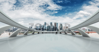 abstract window with cityscape and skyline of chongqing in cloud sky