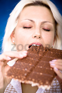 woman with bar of chocolate