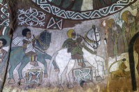 Fresko in der orthodoxen Felsenkirche Abuna Yemata, Gheralta, Tigray, Äthiopien
