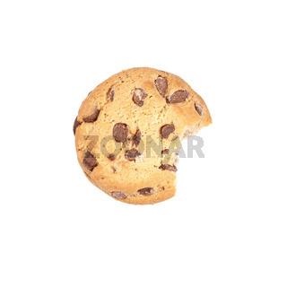 chocolate chip cookie bitten into