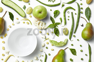 fresh organic green vegetables and fruits