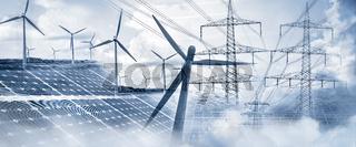 Stromversorgung mit Sonnenenergie und Windkraft