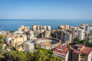 aerial view of Malagueta district and La Malagueta Bullring in Malaga, Spain, Europe on a bright summer day
