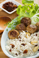 Indian Lamb Koftas with Basmati Rice and Salad