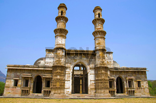 Outer view of Kevada Masjid has minarets, globe like domes and narrow stairs,  UNESCO protected Champaner - Pavagadh Archaeological Park, Gujarat, India
