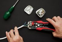 Electrician with plug and wire stripper