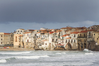 European Coastal travel townof Cefalu in Sicily, Italy.