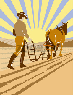 Farmer plowing with horse retro style