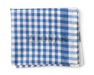 Top view of blue cotton kitchen napkin