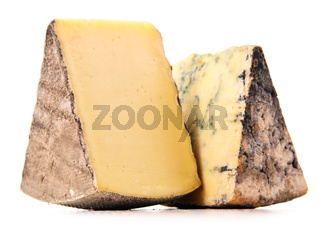Two pieces of cheese isolated in white background.