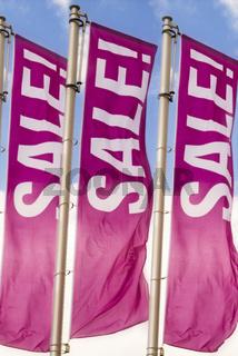 Flaggen mit der Slogan Sale
