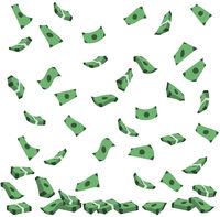 Geldregen Geldscheine fallen auf den Boden