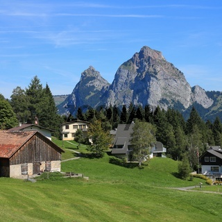 Village Stoss in summer and mount Mythen