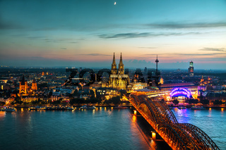 Cologne aerial overview after sunset