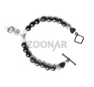 jewel handmade bracelet with semipreciouse stones at white background