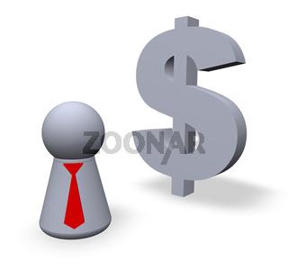 dollar symbol und figur mit krawatte - 3d illustration