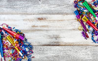 New Year eve party decorations on rustic white wood background