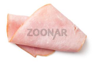 Ham Slice Isolated on White Background