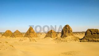 Nuri pyramids in desert, Napata Karima region , Sudan