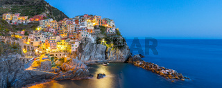 Manarola village one of Cinque Terre at night in La Spezia, Italy