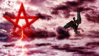 Pentagram in red sea with demon