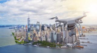 Drone flying over Manhatten New York City