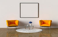 Waiting room with blank picture frame on the wall