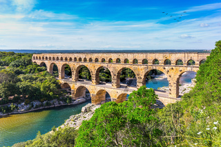 Three-tiered aqueduct Pont du Gard and natural park