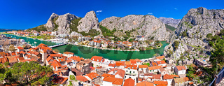 Town of Omis and Cetina river mouth panoramic view
