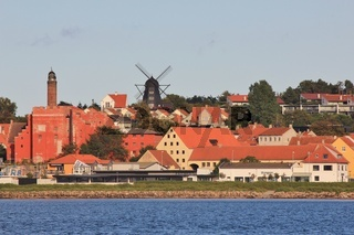 Ebeltoft, town at the east coast of Denmark. Old windmill.